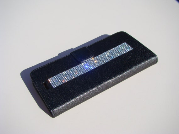 iPhone 8 Wallet / iPhone 7 Wallet Clear Diamond Rhinestone Crystals on Black Wallet Case. Velvet/Silk Pouch bag Included, .