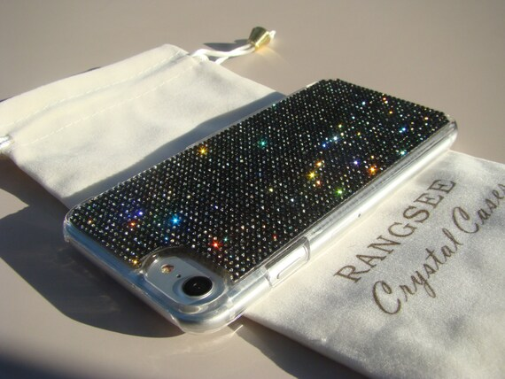 iPhone 8 Case / iPhone 7 Case Black Diamond Rhinestone Crystals on iPhone 7 Transparent Clear Case. Velvet/Silk Pouch Included, .