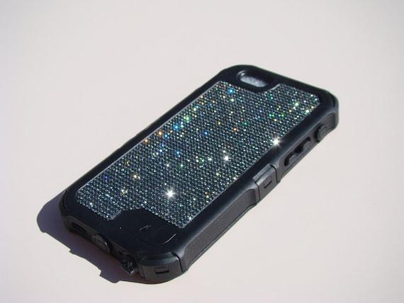 "iPhone 6 / 6s  4.7"" Black Diamond Rhinestone Crystals on Black Rubber "" The Terminator "" Case. Genuine RangseeCrystalCases"