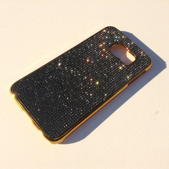 Galaxy S6 Black Diamond Rhinestone Crystals on Gold-Bronze Chrome Case. Velvet/Silk Pouch Bag Included, Genuine Rangsee Crystal Cases.