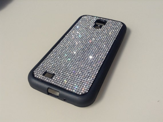 Galaxy S4 Clear Diamond Rhinestone Crystals on Black Rubber Case. Velvet/Silk Pouch Bag Included, Genuine Rangsee Crystal Cases.