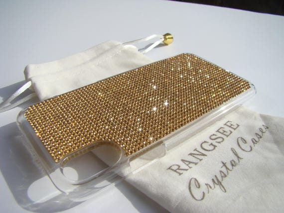 iPhone X Case Gold Topaz Rhinestone Crystals on Transparent Clear iPhone X Case. Velvet Pouch Included,