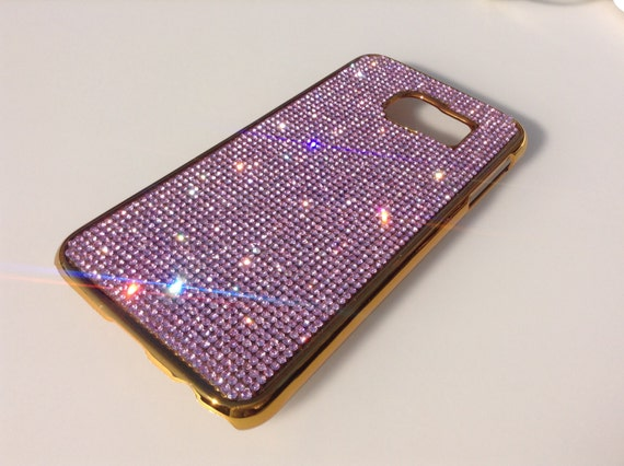 Galaxy S6 Pink Diamond Crystals on Gold-Bronze Electro Plated Plastic Case. Velvet/Silk Pouch Bag Included, Genuine Rangsee Crystal Cases.