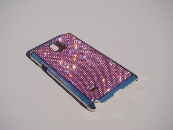 Galaxy Note 4 Pink Diamond Rhinestone Crystals on Silver Chrome Case. Velvet/Silk Pouch Bag Included, Genuine Rangsee Crystal Cases.