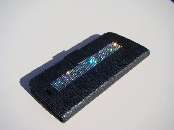 iPhone 8 Plus Wallet / iPhone 7 Plus Wallet Black Diamond Rhinestone Crystals on Black Wallet Case. Velvet/Silk Pouch bag Included, .