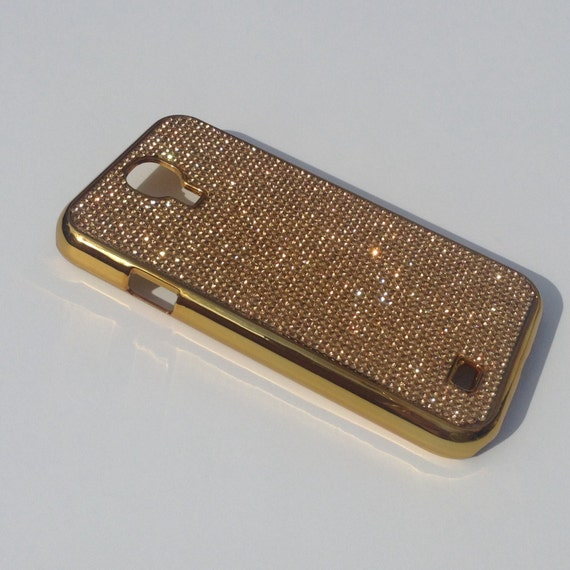 Galaxy S4 Gold Diamond Crystals on Gold-Bronze Electro Plated Plastic Case. Velvet/Silk Pouch Bag Included, Genuine Rangsee Crystal Cases.