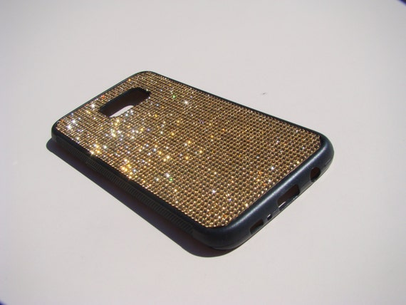 Galaxy S7 Edge Case Gold Topaz Crystals on Black Rubber Case. Velvet/Silk Pouch Bag Included, Genuine Rangsee Crystal Cases.