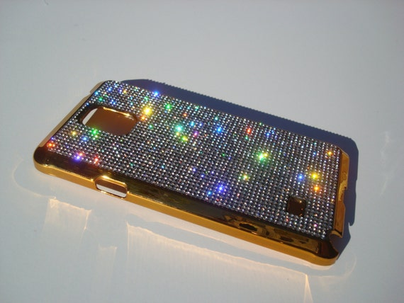 Galaxy Note 4 Clear Diamond Crystals on Gold-Bronze Electro Plated Plastic Case. Velvet/Silk Pouch Included, Genuine Rangsee Crystal Cases.
