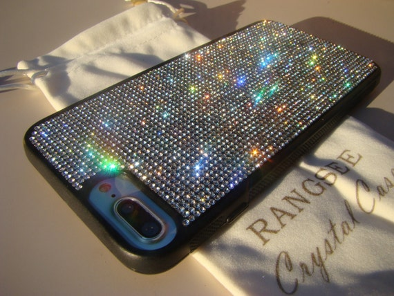 iPhone 8 Plus / iPhone 7 Plus Case Clear Diamond Rhinestone Crystals on Black Rubber Case. Genuine Rangsee Crystal Cases.