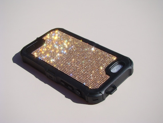 "iPhone 6 / 6s  4.7"" Rose Gold Diamond Rhinestone Crystals on Black Rubber "" The Terminator "" Case. Genuine RangseeCrystalCases."