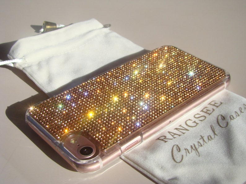 online retailer e8244 b03c7 iPhone 8 Case / iPhone 7 Case Rose Gold Rhinestone Crystals on Transparent  Clear Case. Velvet/Silk Pouch Included,