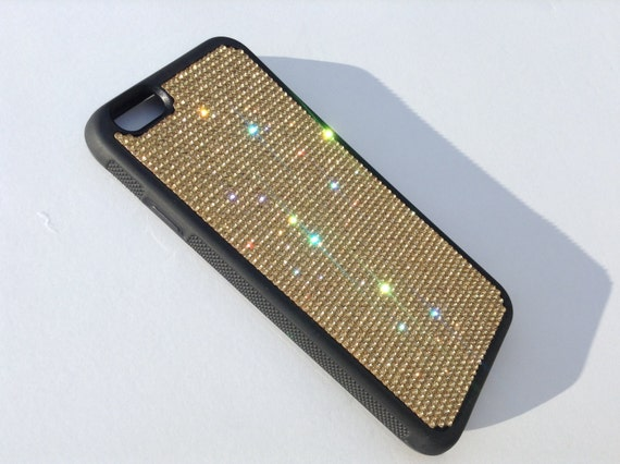 """iPhone 6 / 6s  4.7"""" Gold Topaz Rhinestone Crystals on Black Rubber Case. Velvet/Silk Pouch Bag Included, Genuine Rangsee Crystal Cases"""
