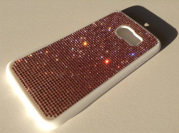 Galaxy S6 Edge Pink Diamond Crystals on White Rubber Case. Velvet/Silk Pouch Bag Included, Genuine Rangsee Crystal Cases.