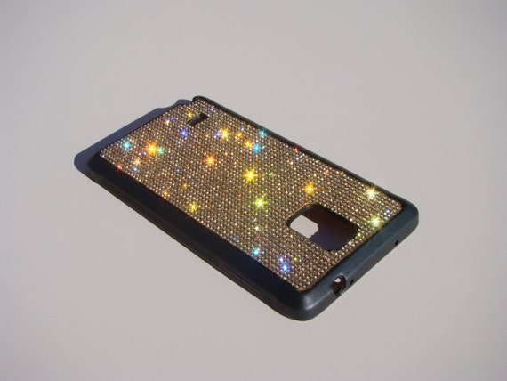Galaxy Note4 Gold Topaz Rhinestone Crystals on Black Rubber Case. Velvet/Silk Pouch Bag Included, Genuine Rangsee Crystal Cases.
