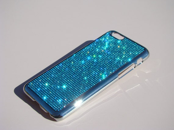 iPhone 6 / iPhone 6s Aquamarine Blue  Crystal Chrome Case iPhone 6 Bling Cover, iPhone 6 Case, Velvet/Silk Pouch Bag Included.