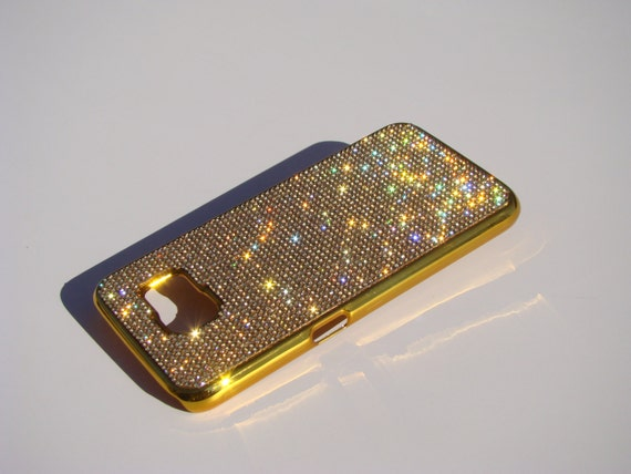 Galaxy S6 Gold Topaz Crystals on Gold-Bronze Chrome Case. Velvet/Silk Pouch Bag Included, Genuine Rangsee Crystal Cases.