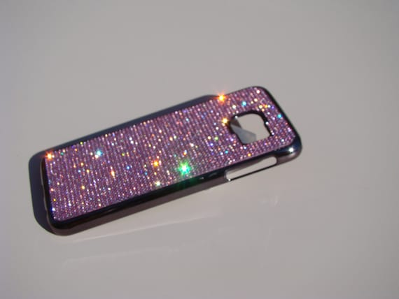 Galaxy S6 Pink Diamond Crystals on Black/brown Chrome Case. Velvet/Silk Pouch Bag Included, Genuine Rangsee Crystal Cases.