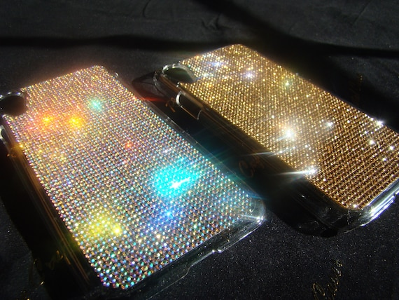 iPhone XR Case Gold Topaz Rhinestone Crystals Transparent Clear iPhone XR Case. (This listing are for one (1) case. Velvet Pouch Included,