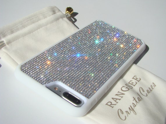 iPhone 8 Plus Case / iPhone 7 Plus Case Clear Diamond Rhinestone Crystals on White Rubber Case. Velvet/Silk Pouch Bag Included, .