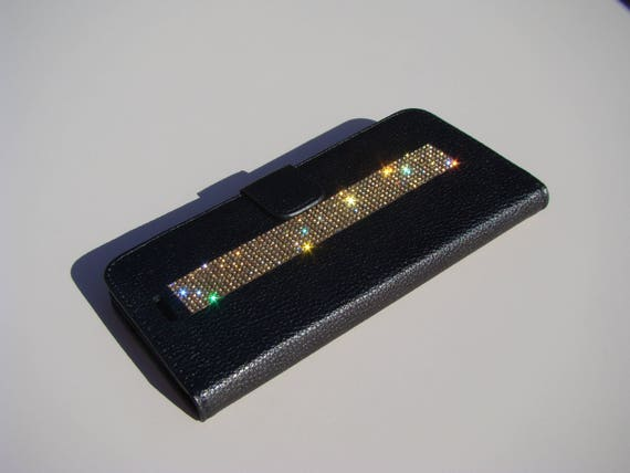 iPhone 8 Plus Wallet / iPhone 7 Plus Wallet Gold Topaz Rhinestone Crystals on black Wallet Case. Velvet/Silk Pouch bag Included, .
