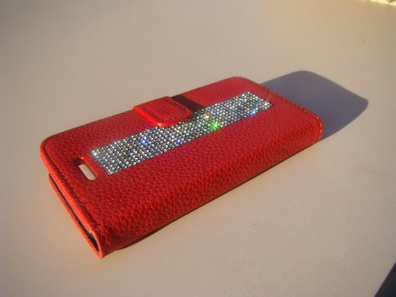 iPhone SE Case /5/ 5s Clear Rhinestone Crystals on Red Wallet Case. Velvet/Silk Pouch bag Included, Genuine Rangsee Crystal Cases.