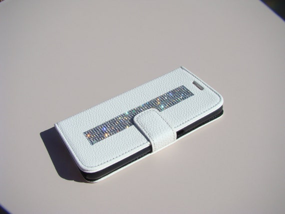 Galaxy S6 Clear Rhinestone Crystals on White Wallet Case. Velvet/Silk Pouch bag Included, Genuine Rangsee Crystal Cases.