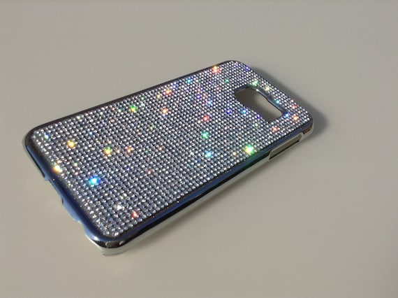 Galaxy S6 Clear Diamond Rhinestone Crystals on Silver Chrome Case. Velvet/Silk Pouch Bag Included, Genuine Rangsee Crystal Cases