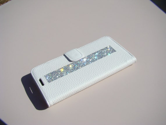 Galaxy Note 4 Clear Diamond Crystals on White Wallet Case. Velvet/Silk Pouch bag Included, Genuine Rangsee Crystal Cases.