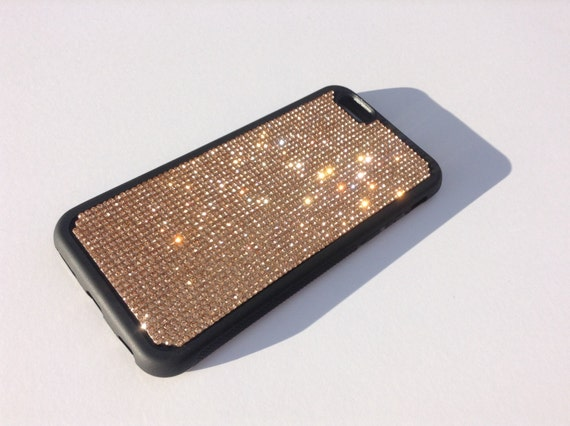 "iPhone 6 / 6s 4.7"" Rose Gold Diamond Crystals on Black Rubber Case. Velvet/Silk Pouch Bag Included, Genuine Rangsee Crystal Cases"
