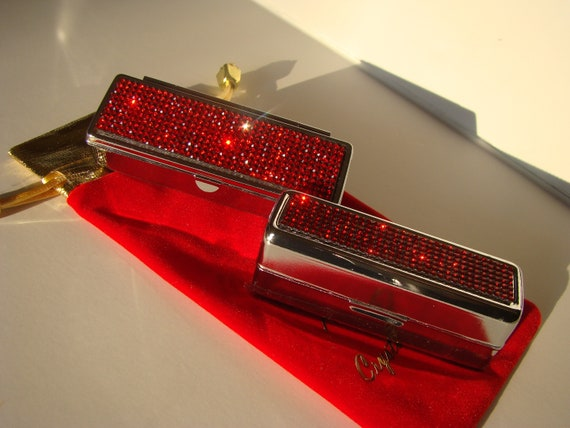 Lipstick Case with Mirror, Lipstick Box, Lipstick Holder, Red Siam Diamond Rhinestone Crystals,  This listing are for one (1) case