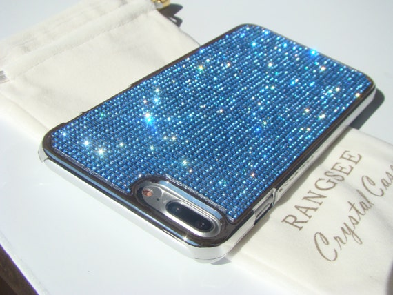 iPhone 8 Plus Case / iPhone 7 Plus Blue Sapphire Diamond Rhinestone Crystals on Silver Chrome Case. Velvet Pouch Included,