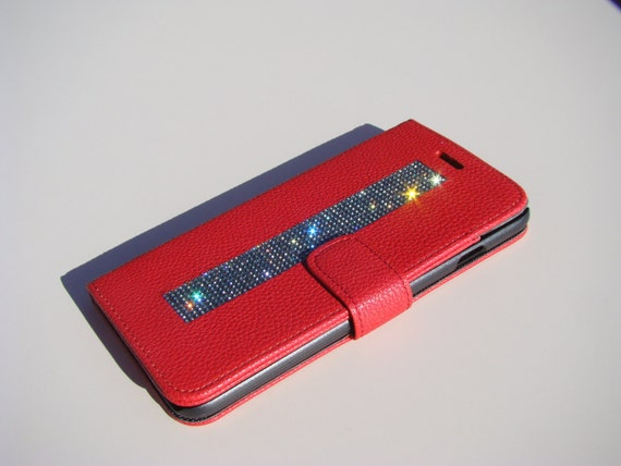 iPhone 6 Plus / 6s  Plus Black Diamond Crystals on Red Wallet Case. Velvet/Silk Pouch bag Included, .