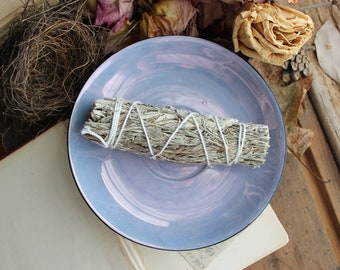 Aura Blue Ceramic Smudge Plate - Metaphysical - Wiccan - Pagan - Crystal Healing