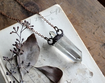 Topaz & Clear Quartz Point Electroformed Copper Necklace - Metaphysical - Wiccan - Pagan - Boho