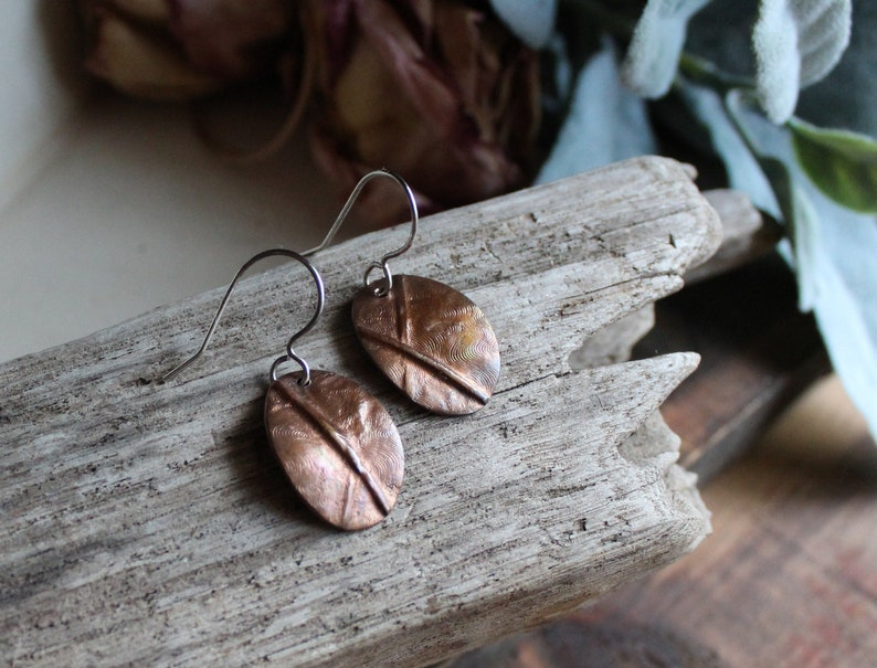Copper Oval Textured Earrings  Sterling Silver & Copper  image 0