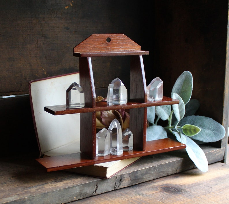 Small Wooden Crystal Shelf  Wall Hanging  Home Decor  image 0