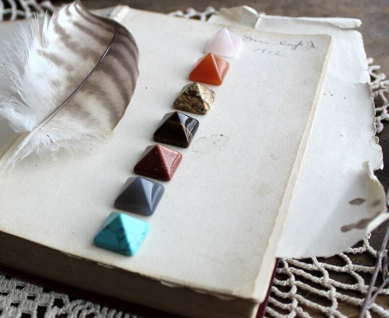 Chakra Pyramid Stones  Crystal Healing  Wiccan Natural image 0