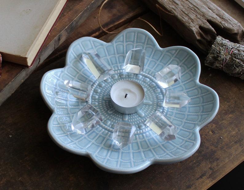 Baby Blue Textured Flower Ceramic Tray  Crystal Holder  image 0