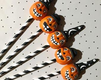 Pumpkin Wizard Cupcake Toppers, Set of 5, Lisa Kettell