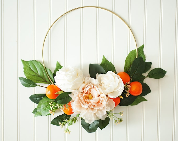 SUMMER BLOSSOM SERIES: Gold Floral Hoop Wreath, Oranges and Greenery Wreath, Boho Nursery, Ribbon Wreath, Peonies