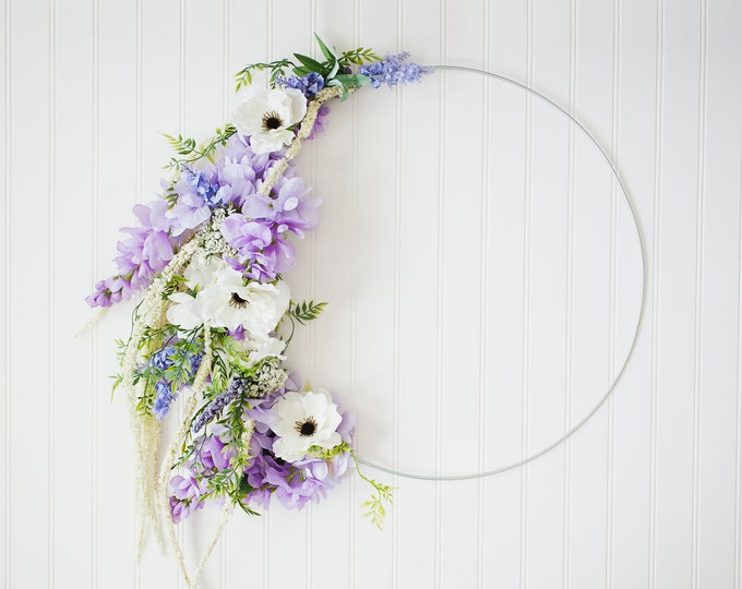 WILD and FREE SERIES: Large Floral Silver Hoop Wreath, Wisteria Wreath, Anemones, Boho Nursery, Purple Florals, Natural Style