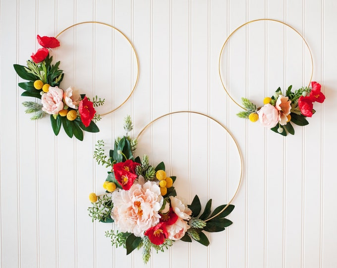 GARDEN PARTY SERIES: Set of Gold Hoop Wreaths,Nursery Hoop Wreath, Roses, Soft Nursery Chic, Nursery Wreath Set, Floral Boho, Rifle Paper Co