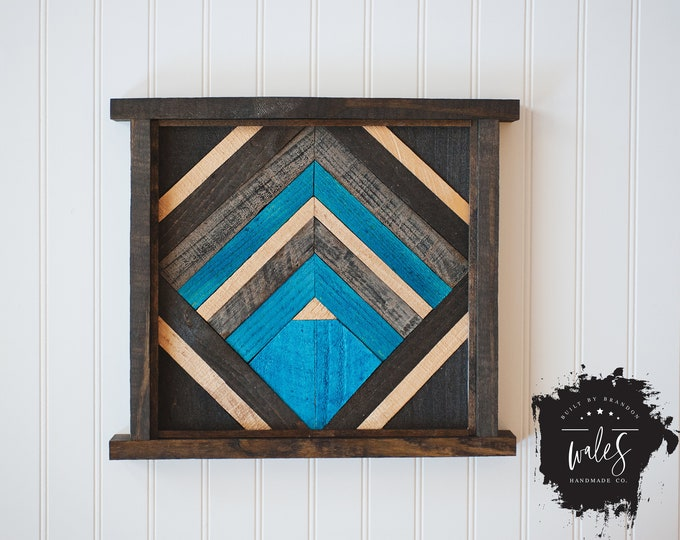 BUILT BY BRANDON Series: Rustic Wood Hanging, Wood Art, Man Cave, Men's Valentines, Hipster Wall Hanging, Geometric Art