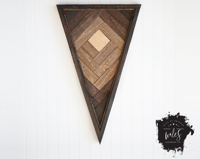 BUILT BY BRANDON Series: Rustic Wood Hanging, Wood Art, Man Cave, Valentines Gift, Hipster Wall Hanging, Geometric