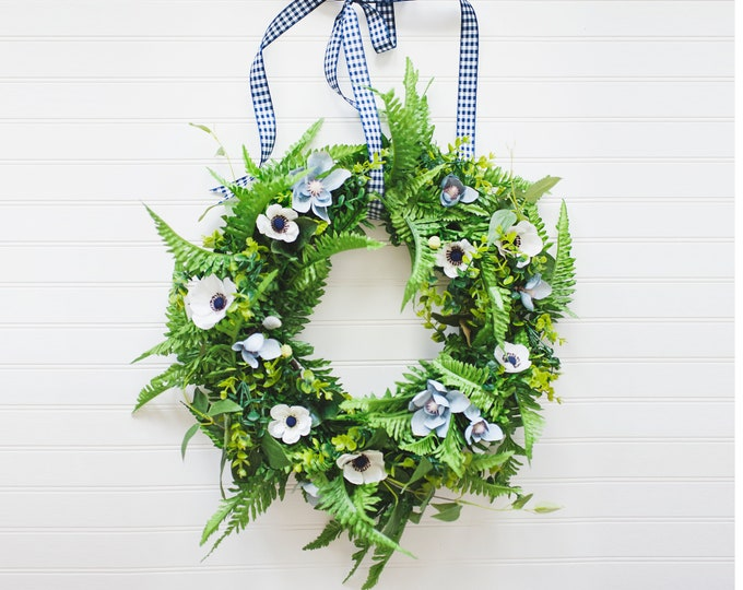 WILD and FREE SERIES: Full Fern and Anemone Wreath