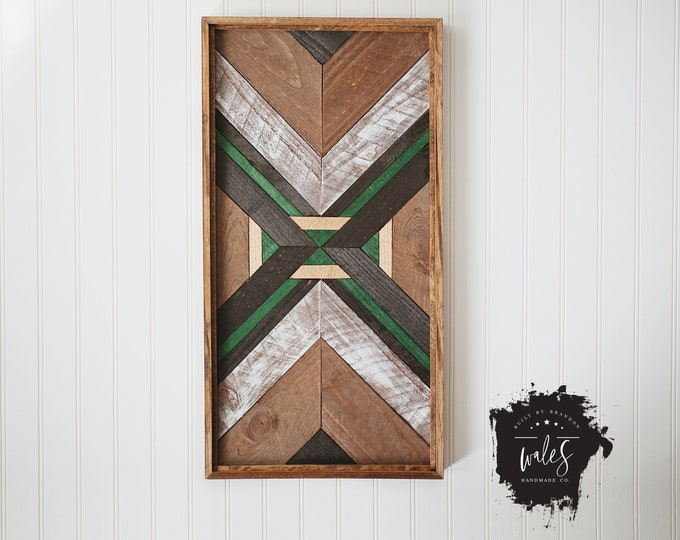 BUILT BY BRANDON Series: Rustic Wood Hanging, Wood Art, Man Cave, Lumberjack, Hipster Wall Hanging, Geometric