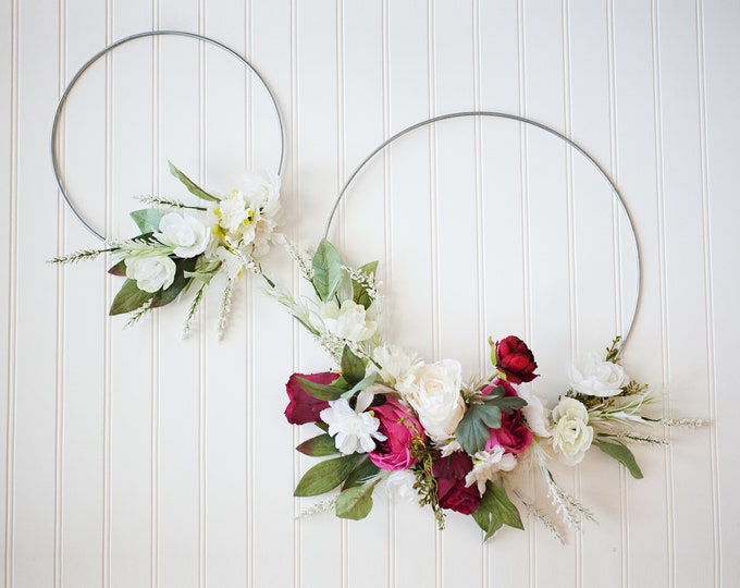 ADORE SERIES: Pair of Silver Hoop Wreaths, Peony and Roses, Spring Wreath, Wedding Decor, Nursery Decorations, Chic Natural Home, Boho Hoops