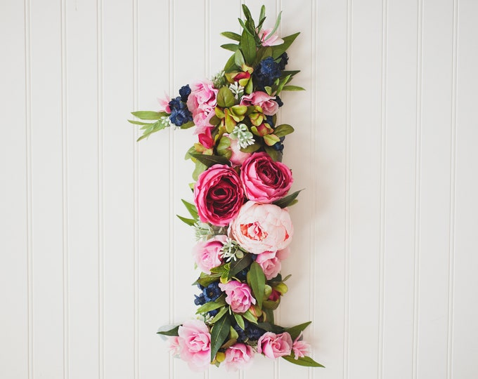 GARDEN PARTY SERIES: Floral Number One Wall Hanging, First Birthday Prop, Rifle Paper Style Florals