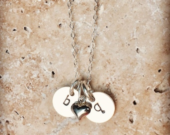 Initial necklace, Hand-stamped initial necklace, baby initial, Personalized bridesmaid gifts, Sterling silver necklace, wedding jewelry