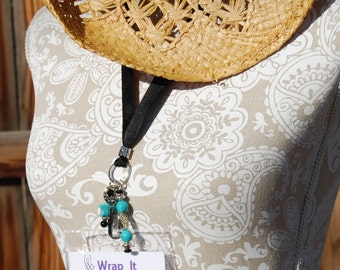 Beaded Lanyard, Badge ID holder Western/ Southwestern Style with Turquoise and Silver Beads with Breakaway Clasp
